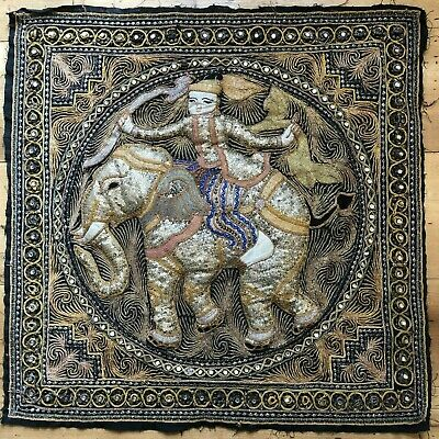 Antique Burmese large Kalaga Tapestry Elephant beaded sequins Good condition