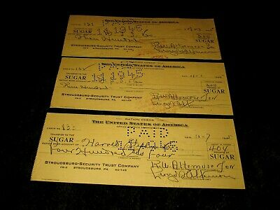 Lot Of 3 Stroudsburg-Security Trust Company-Wwii-1945 Sugar Ration Checks