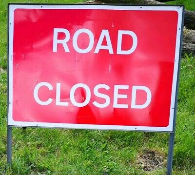 Road Closed Metal Sign In Frame
