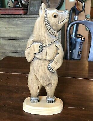Nice George Updegraff 2004 Northwest Coast Bear Wood Carving, Signed 12""