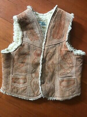 Vintage Childs Boys Suede Shearling Cowboy Cowgirl Western Vest with Buck