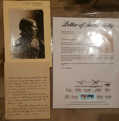 Clara Barton - Signed Letter C.b. And Original Photo With Psa Dna Authenticity
