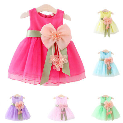 Toddlers Infants Baby Girls Pageant Princess Party Round Neck Sleeveless Dress