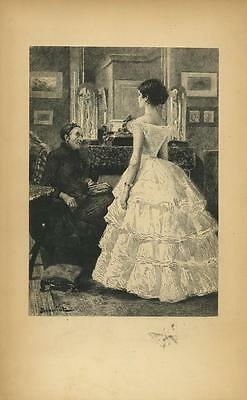 Antique Victorian Debutante Ruffled Dress Foot Stool Butterfly Remarque Print