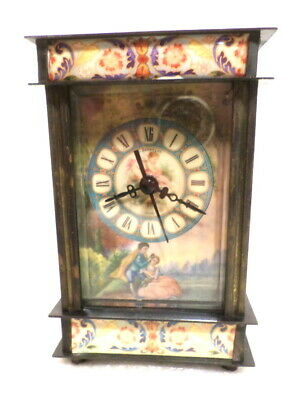 "Mechanical Carriage Clock 7"" With Pictures All Around Case--Solid Brass, Wind Up"