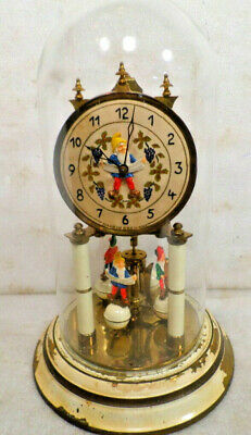 Vintage German Knome Designed 400 Day Anniversary Clock & Dome--Wind Annually