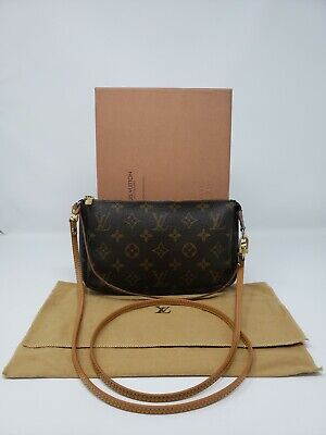 Vintage Louis Vuitton MONOGRAM Pochette w/ Crossbody Strap & Dust Bag M51980