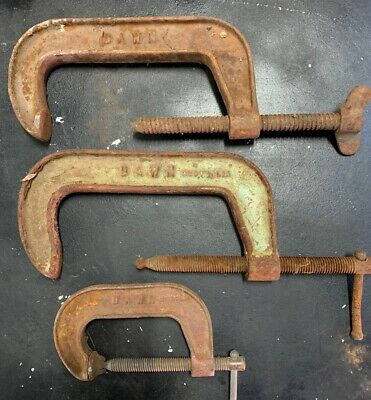 """Set Of 3 X Vintage Dawn 6"""" Inch and 75mm G-Clamps Australian Made Old Tools"""