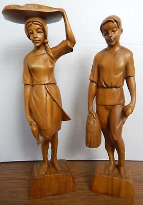 """Early 1970s 19"""" Hand carved Wooden Fishing Couple Figurines Statues PHILLIPINES"""