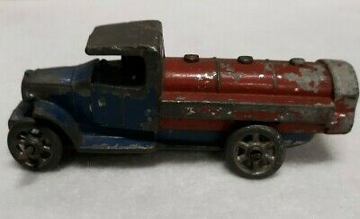 "Antique Cast Iron Lead Truck with man Red & Blue 3 1/2"" long"