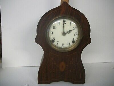 Antique MANCHESTER Sessions Clock Co Cathedral Inlaid Mantle Clock, WORKING,