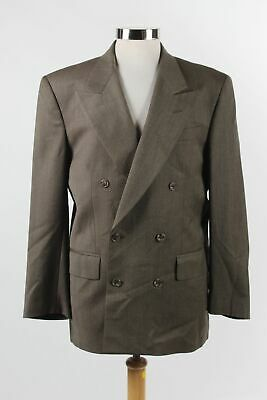 Vintage Vito Rufolo Tobacco Brown Wool Double Breasted Button Blazer Size 38R