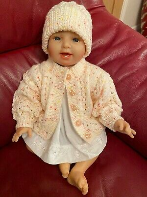 Hand Knitted 0-3 Months Cardigan and Hat Set Baby Girls New