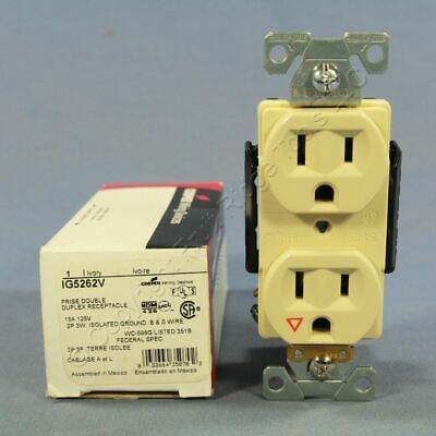 New Cooper Ivory ISOLATED GROUND Receptacle Duplex Outlet 5-15R 15A 125V IG5262V