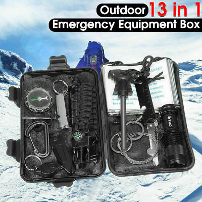 13in1 SOS Aid Set Emergency Equipment Box Camping Survival Gear Camp Outdoor Kit