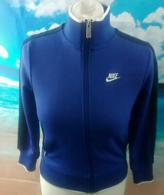 """Nike blue full zip Tracksuit Jacket. 15"""" pit-to-pit, 21"""" length, age 8, age 10"""
