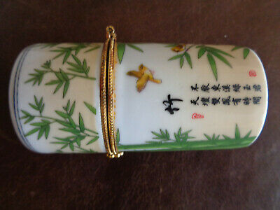 Chinese Small  Porcelain/ Green / white beautiful small box antique