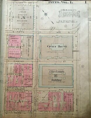 1923 Pittsburgh Pa Courthouse Union Arcade Frick & Carnegie Buildings Atlas Map