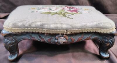 Antique Old French Hand Carved Wood Footstool Foot Stool Needlepoint Floral