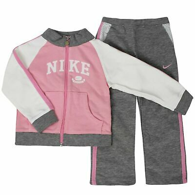 Nike Girls Youths Tracksuit Track Top Pants Joggers Logo Pink Grey 494349 106