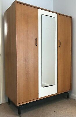 Mid century G Plan E Gomme, Retro / Vintage light oak & ivory Wardrobe.