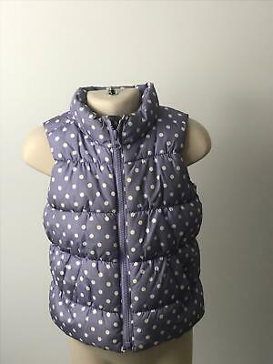 Girls Baby Gap Lilac & White Polka Dot Body Warmer Coat Jacket Kids Age 2 Years