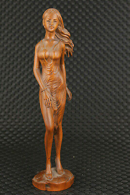 unique chinese old boxwood hand carved long hair girl statue figure collectable