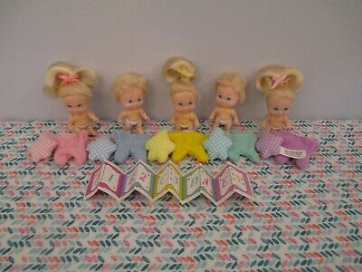 Adorable Full Set of Quints Baby Dolls, Pajamas, Toys by Tyco, 1990