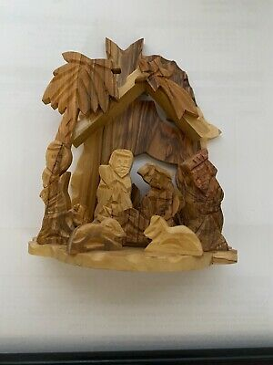 Bethlehem Star Olive Wood Factory Hand Carved Nativity  TWO candle Design