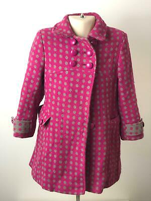 Girls John Lewis Pink & Grey Polka Dot Warm Winter Coat Jacket Kids Age 4 Years