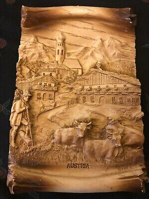 Vintage hand carved Composite Wood plaque depicting an Austrian scene Circa 1956