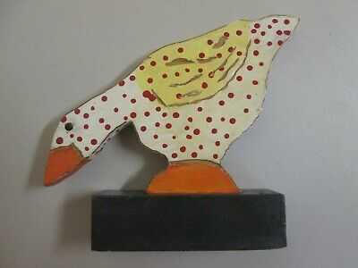 Antique Vintage Folk Art Wood Goose / Duck Figurine - 2 Sided & Hand Painted