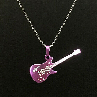 Stainless Steel Guitar Music Pendant Necklace Men Women Jewelry with chain