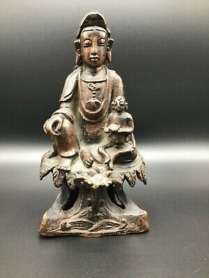 Antique Chinese bronze of Guanyin and infant Buddha