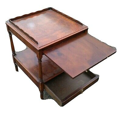 Small Mahogany Side Table Coffe Table Single Drawer With pull out shelf