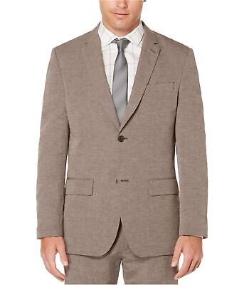 Perry Ellis Mens End On End Two Button Blazer Jacket, Brown, 38 Regular