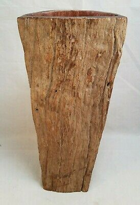 Unique African Mozambique Hand Carved Wood Tree Trunk Vase Decor Burl Art 12""