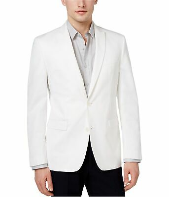 bar III Mens Cotton Dinner Two Button Blazer Jacket, White, 40 Long
