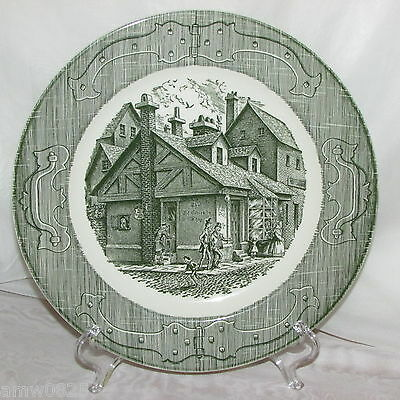 The Old Curiosity Shop Royal China Dinner Plate Green Transfer Pattern Vintage