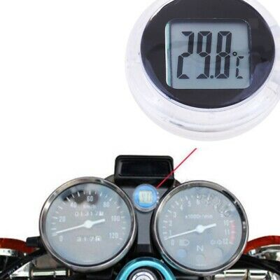 Motorcycle Thermometer, Digital Stick On Temperature Gauge Meter, LCD Clock