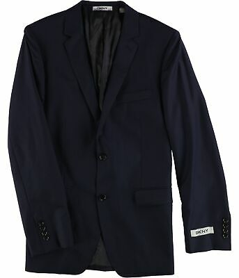 DKNY Mens Slim Two Button Blazer Jacket, Blue, 37 Short