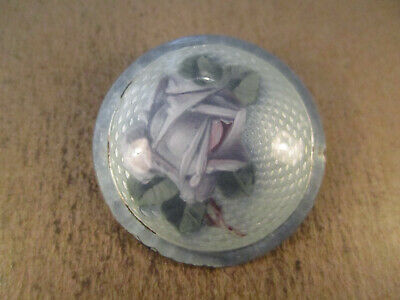Antique Sterling Silver & Flower Guilloche Enamel Brooch, Unsigned, 13.5g