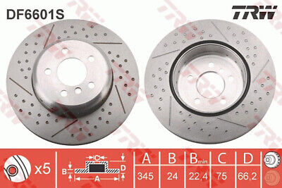 Vented fits BMW 318 F31 1.5 Front 2015 on B38B15A 340mm 2x Brake Discs Pair