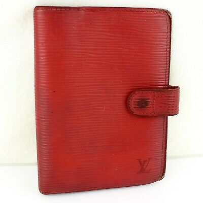 Auth LOUIS VUITTON AGENDA PM Notebook Day Planner Cover Epi Leather R20057 Red