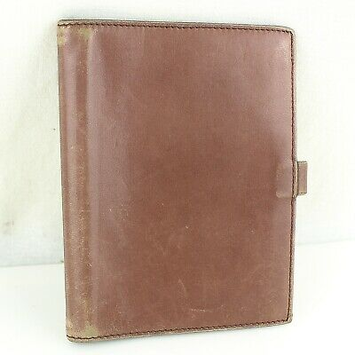 Auth HERMES AGENDA GM Notebook Day Planner Cover Leather Brown