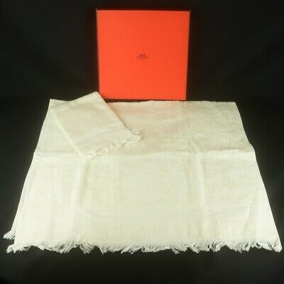 Auth HERMES Baby Bath Towel & Bath Mitten Set Cotton Ivory with Box