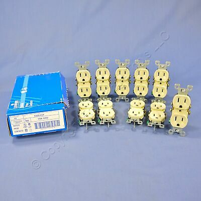 10 New Leviton Ivory Residential Duplex Receptacle Outlets 5-15R 15A 125V 5320-I