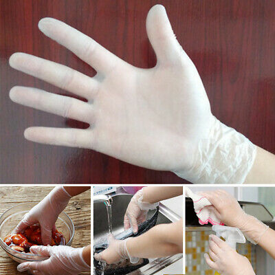 100x Plastic Clear Disposable Gloves Home Service Hygiene Safety Protection UK
