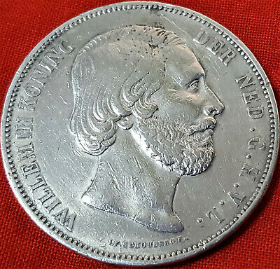 1874 Dated Dutch Netherlands 2.5 Gulden Silver Coin