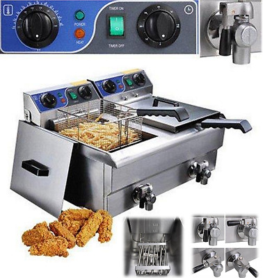 Large Electric Fryer Home Commercial Twin Basket 19 Litre Restaurant Fish Chips